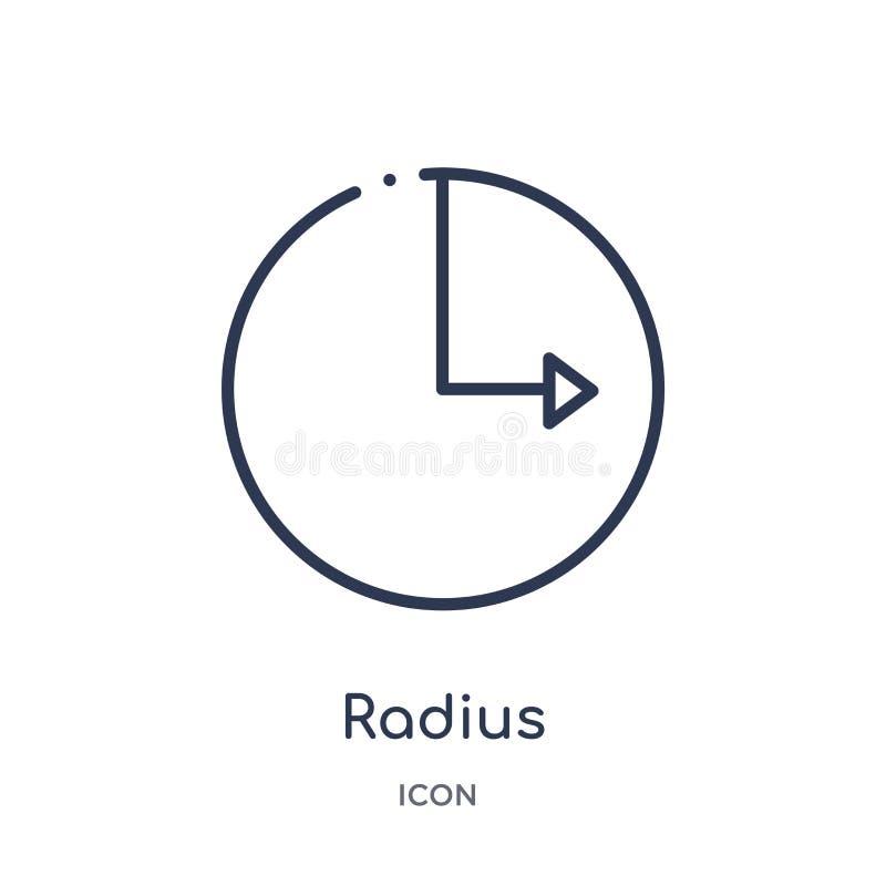 Linjär radiesymbol från geometriöversiktssamling Tunn linje radiesymbol som isoleras på vit bakgrund moderiktig radie stock illustrationer