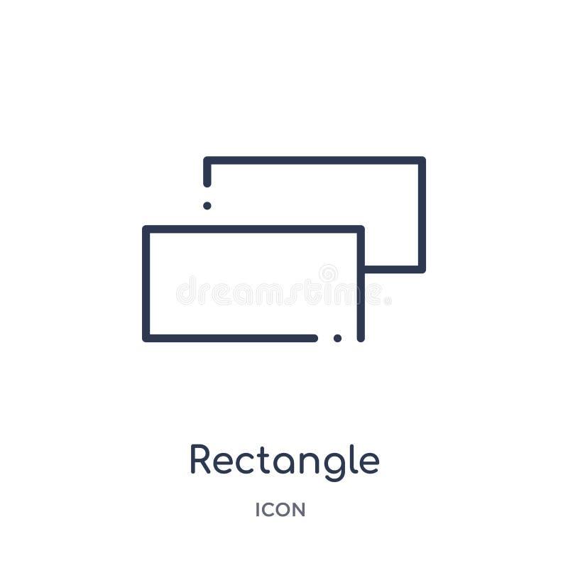 Linjär rektangelsymbol från geometriöversiktssamling Tunn linje rektangelsymbol som isoleras på vit bakgrund moderiktig rektangel stock illustrationer