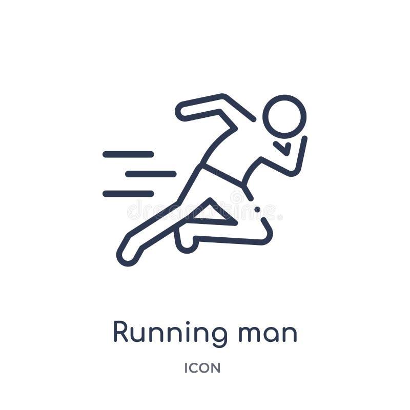 Linjär rinnande mansymbol från översiktssamling för fri tid Tunn linje körande manvektor som isoleras på vit bakgrund Running man royaltyfri illustrationer