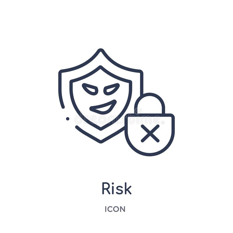 Linjär risksymbol från Cyberöversiktssamling Tunn linje riskvektor som isoleras på vit bakgrund moderiktig illustration för risk royaltyfri illustrationer