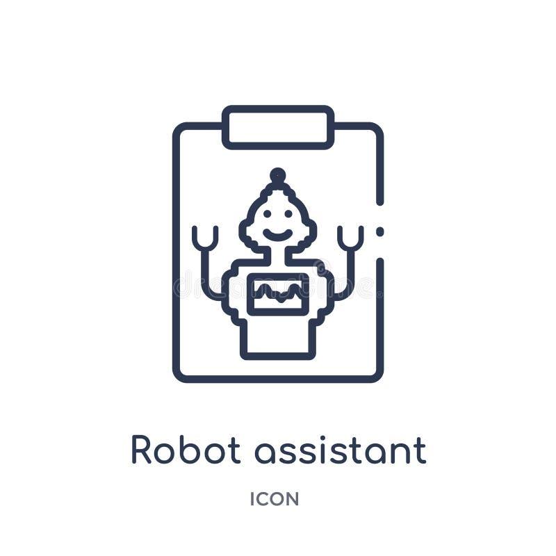 Linjär robotassistentsymbol från konstgjord intellegence och den framtida teknologiöversiktssamlingen Tunn linje robotassistent vektor illustrationer