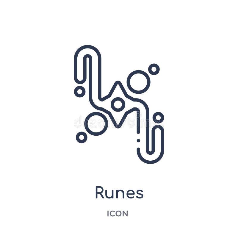 Linjär runasymbol från magisk översiktssamling Tunn linje runasymbol som isoleras på vit bakgrund moderiktig illustration för run vektor illustrationer