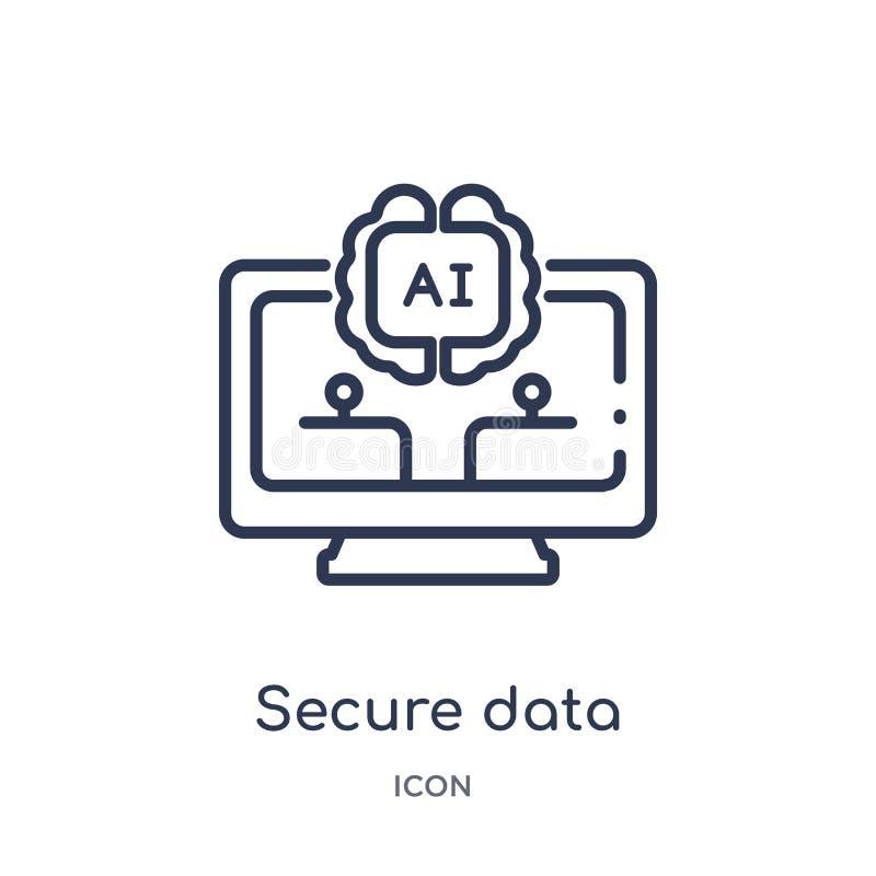 Linjär säker datasymbol från konstgjord intellegence och den framtida teknologiöversiktssamlingen Tunn linje säker datavektor stock illustrationer