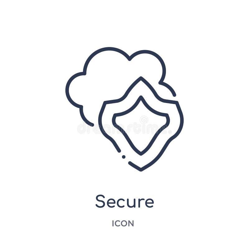 Linjär säker symbol från samling för internetsäkerhetsöversikt Tunn linje säker symbol som isoleras på vit bakgrund säkert moderi royaltyfri illustrationer