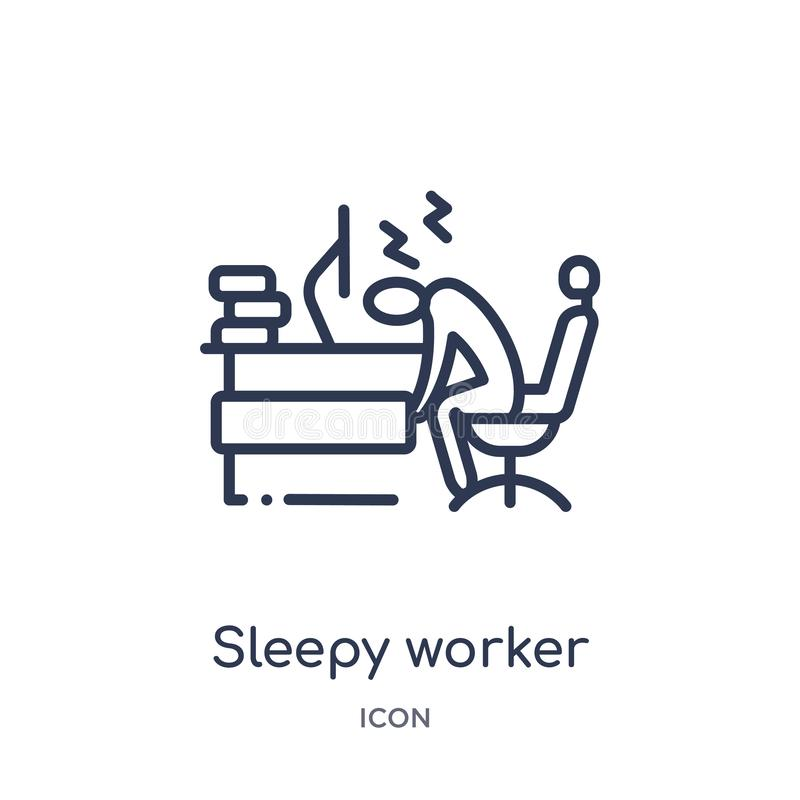 Linjär sömnig arbetare på arbetssymbolen från affärsöversiktssamling Tunn linje sömnig arbetare på arbetssymbolen som isoleras på royaltyfri illustrationer