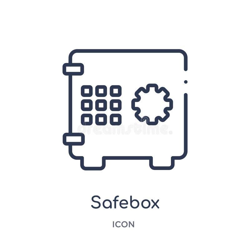 Linjär safeboxsymbol från samling för Digital ekonomiöversikt Tunn linje safeboxvektor som isoleras på vit bakgrund moderiktig sa vektor illustrationer