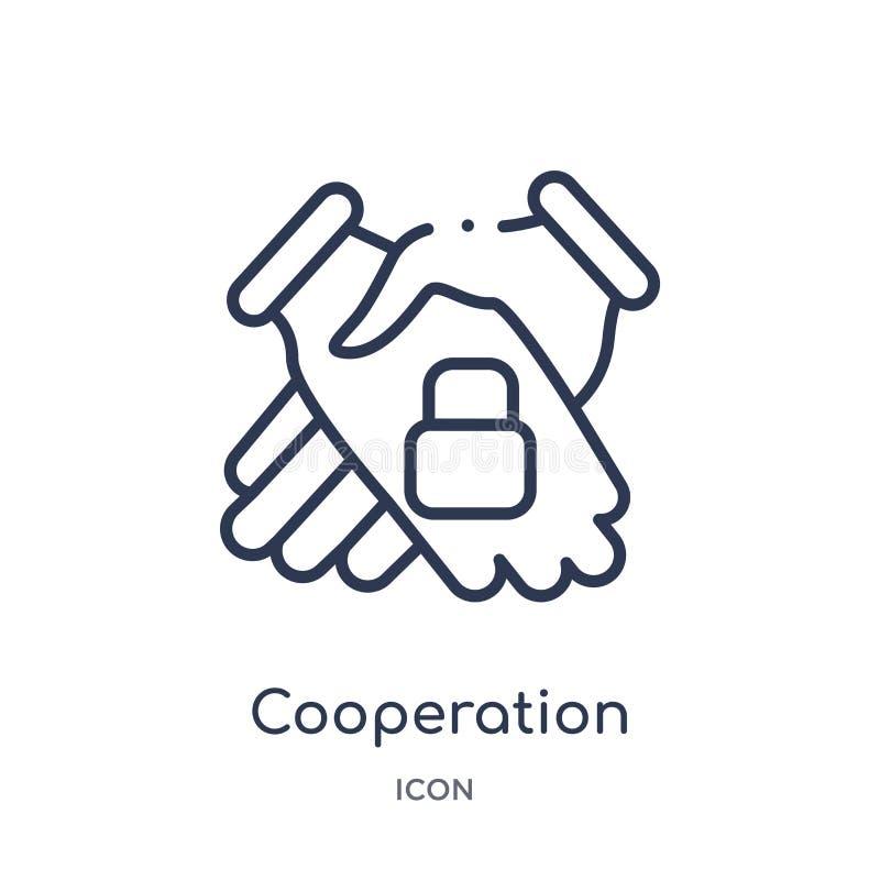 Linjär samarbetssymbol från Gdpr översiktssamling Tunn linje samarbetssymbol som isoleras på vit bakgrund moderiktigt samarbete royaltyfri illustrationer