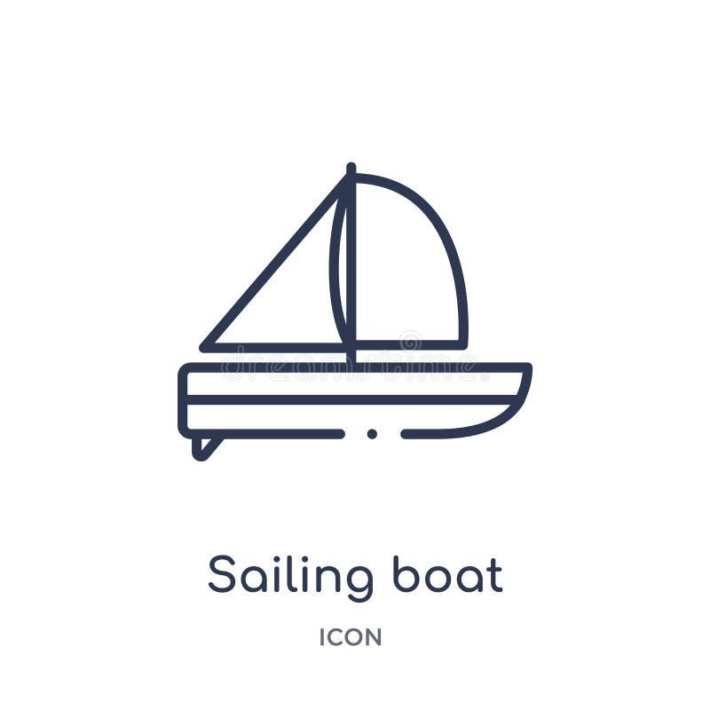 Linjär segelbåtsymbol från underhållning- och galleriöversiktssamling Tunn linje segelbåtvektor som isoleras på vit vektor illustrationer