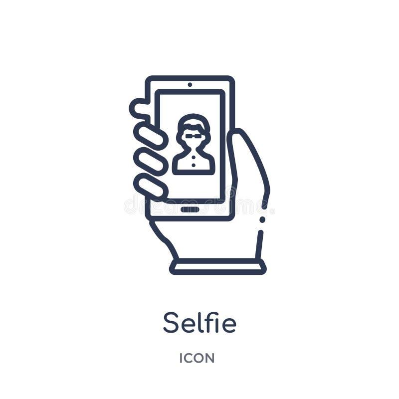Linjär selfiesymbol från blogger- och influenceröversiktssamling Tunn linje selfievektor som isoleras på vit bakgrund Selfie royaltyfri illustrationer