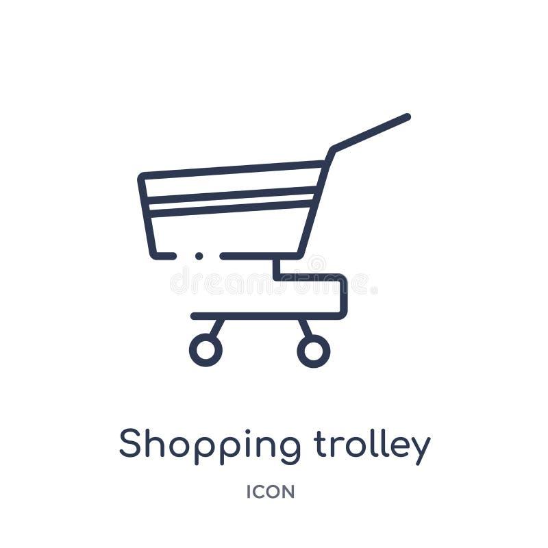 Linjär shoppa spårvagnsymbol från samling för allmän översikt Tunn linje som shoppar spårvagnsymbolen som isoleras på vit bakgrun royaltyfri illustrationer