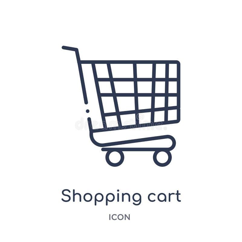 Linjär shoppa vagn med gallersymbolen från kommersöversiktssamling Tunn linje shoppingvagn med gallersymbolen som isoleras på vit royaltyfri illustrationer