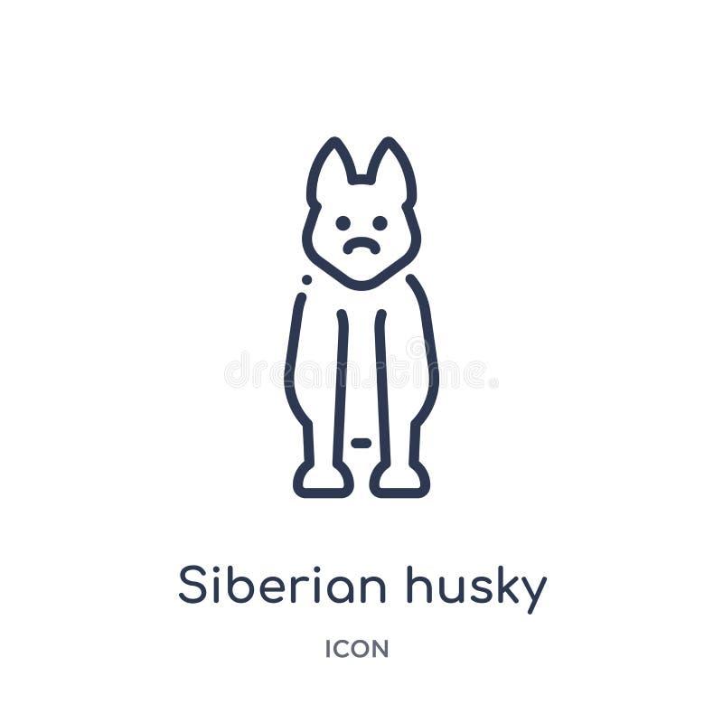 Linjär siberian skrovlig symbol från djuröversiktssamling Tunn linje skrovlig symbol för siberian som isoleras på vit bakgrund si stock illustrationer