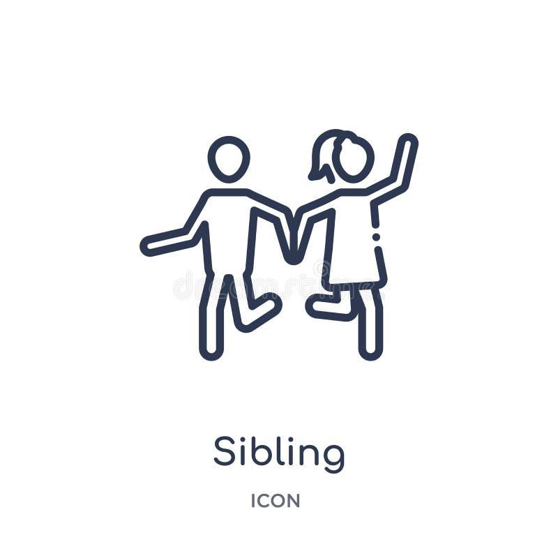 Linjär siblingsymbol från samling för översikt för familjförbindelse Tunn linje siblingvektor som isoleras på vit bakgrund siblin stock illustrationer