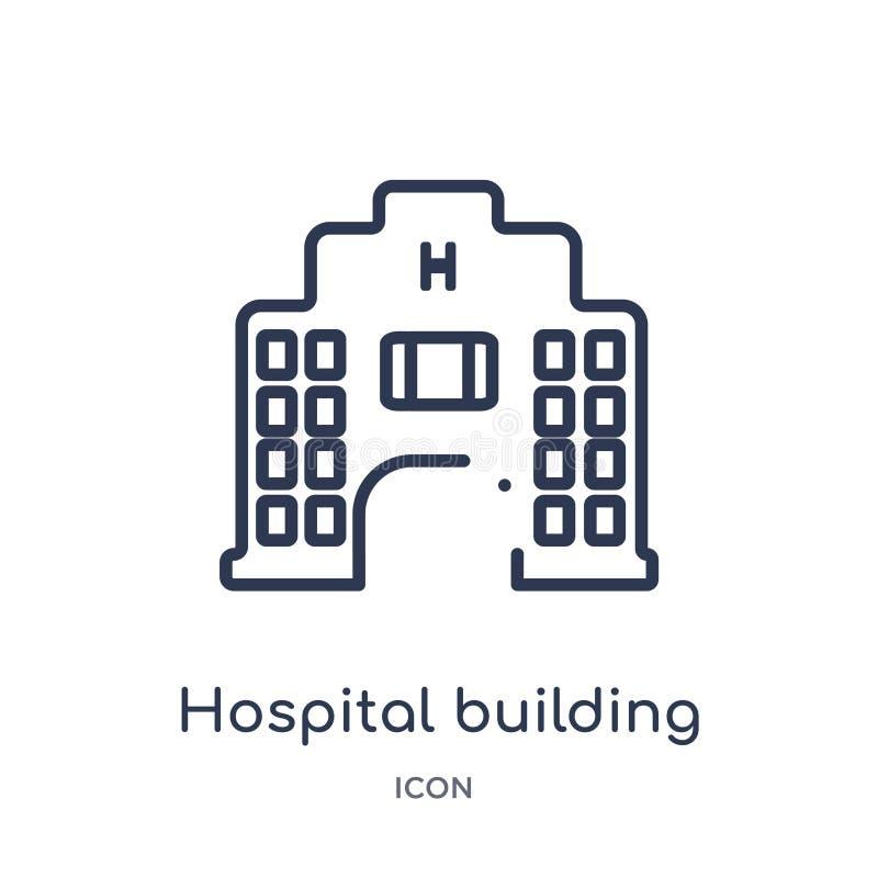 Linjär sjukhusbyggnadssymbol från medicinsk översiktssamling Tunn linje sjukhusbyggnadssymbol som isoleras på vit bakgrund stock illustrationer
