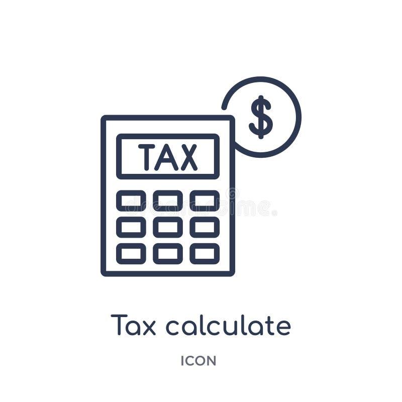 Linjär skatt beräknar symbolen från affärsöversiktssamling Den tunna linjen skatt beräknar symbolen som isoleras på vit bakgrund  stock illustrationer