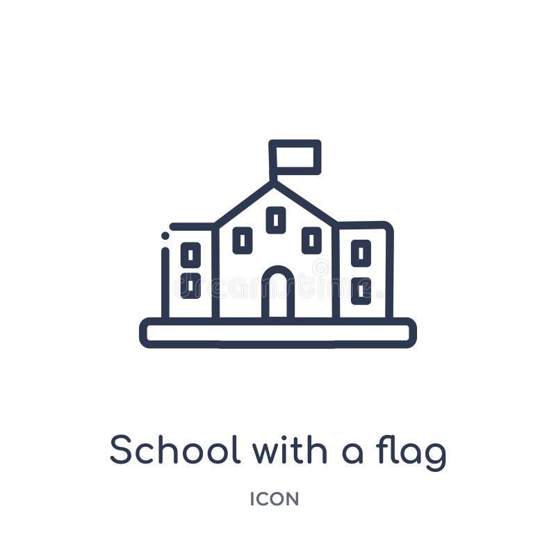Linjär skola med en flaggasymbol från byggnadsöversiktssamling Tunn linje skola med en flaggasymbol som isoleras på vit bakgrund royaltyfri illustrationer