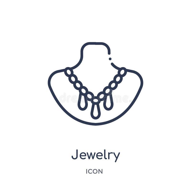 Linjär smyckensymbol från smyckenöversiktssamling Tunn linje smyckensymbol som isoleras på vit bakgrund moderiktiga smycken royaltyfri illustrationer