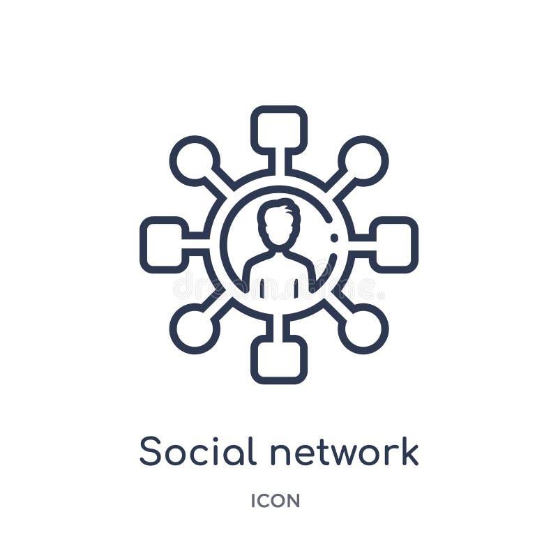 Linjär social nätverkssymbol från blogger- och influenceröversiktssamling Tunn linje social nätverksvektor som isoleras på vit vektor illustrationer
