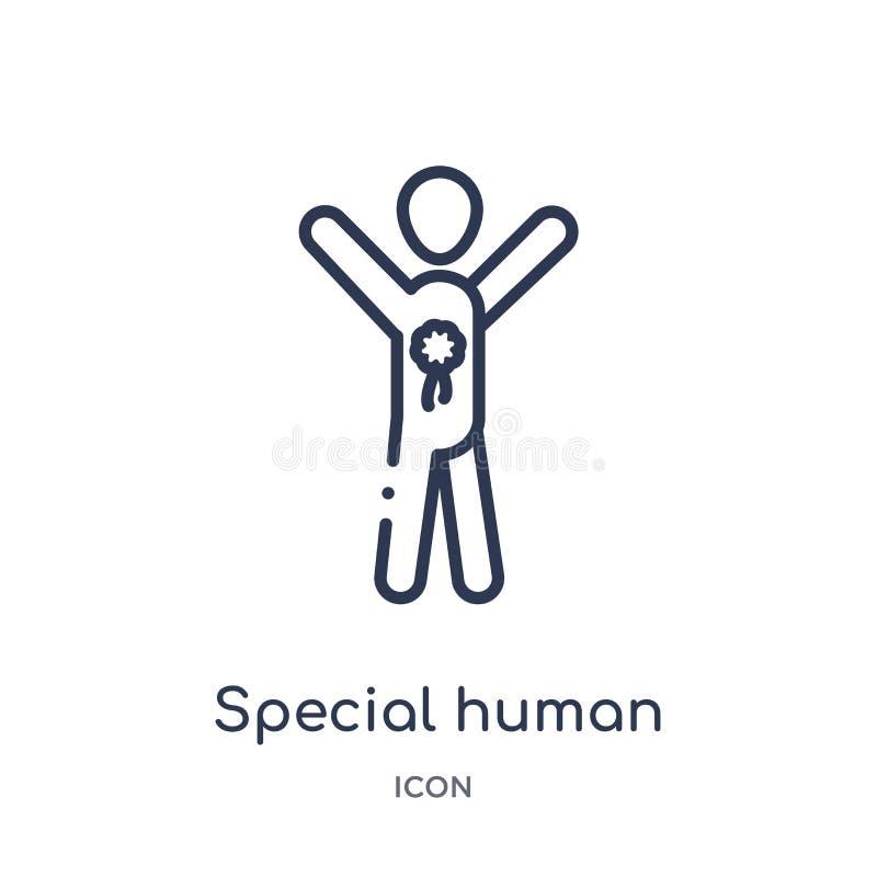 Linjär special mänsklig symbol från känslaöversiktssamling Tunn linje special mänsklig vektor som isoleras på vit bakgrund specia stock illustrationer