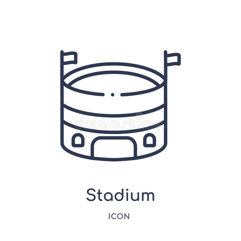 Linjär stadionsymbol från fotbollöversiktssamling Tunn linje stadionvektor som isoleras på vit bakgrund moderiktig stadion stock illustrationer