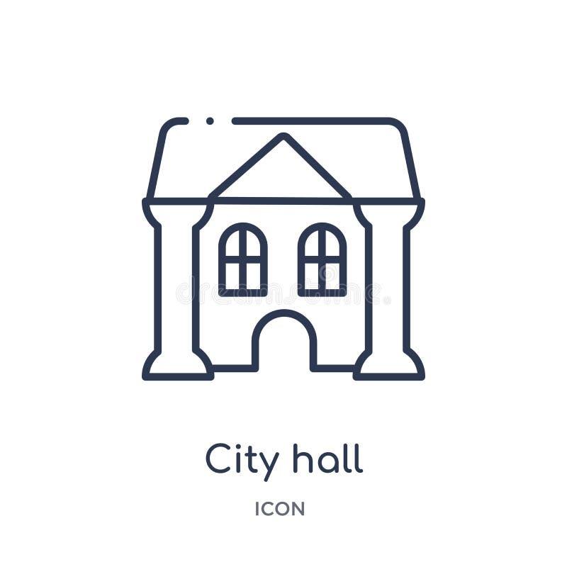 Linjär stadshussymbol från samling för stadsbeståndsdelöversikt Tunn linje stadshusvektor som isoleras på vit bakgrund columned k stock illustrationer