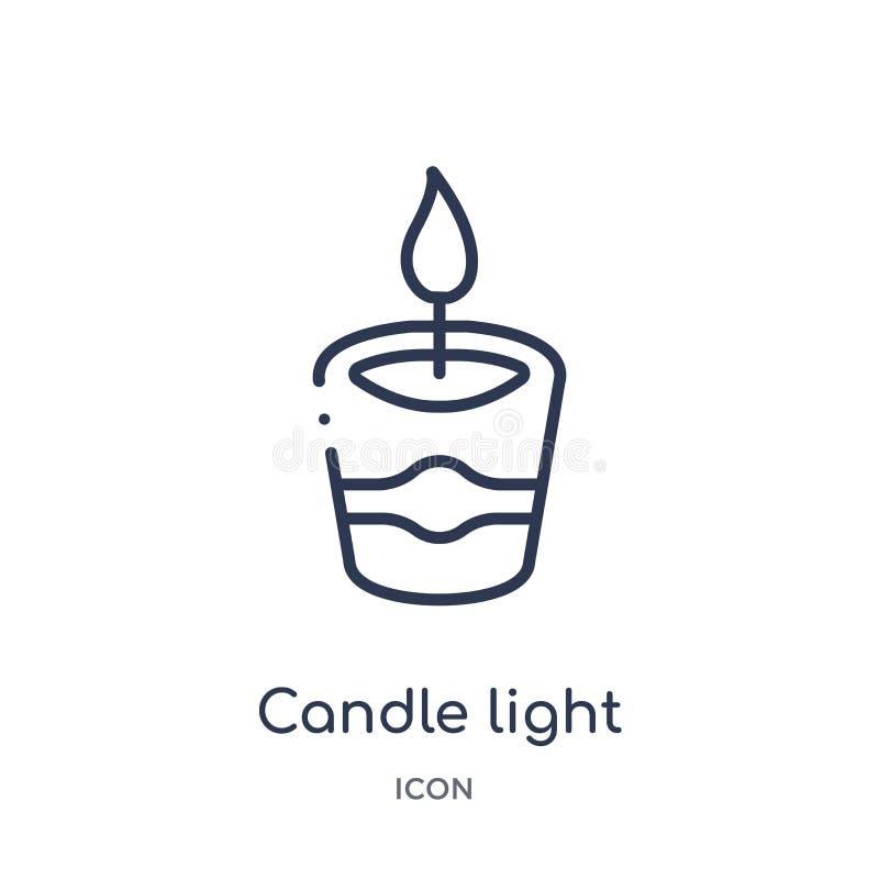 Linjär stearinljusljussymbol från skönhetöversiktssamling Tunn linje stearinljusljusvektor som isoleras på vit bakgrund Stearinlj stock illustrationer