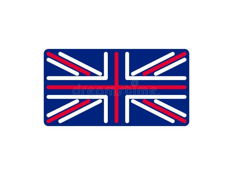 Linjär stil för Förenade kungariket flagga Tecken Britannien Nationellt symbol royaltyfri illustrationer