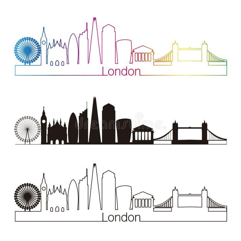 Linjär stil för London V2 horisont med regnbågen stock illustrationer