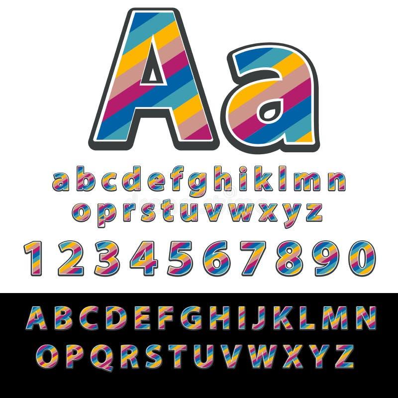 Linjär stilsort Vektoralfabetet med bandeffekt märker och nummer vektor illustrationer