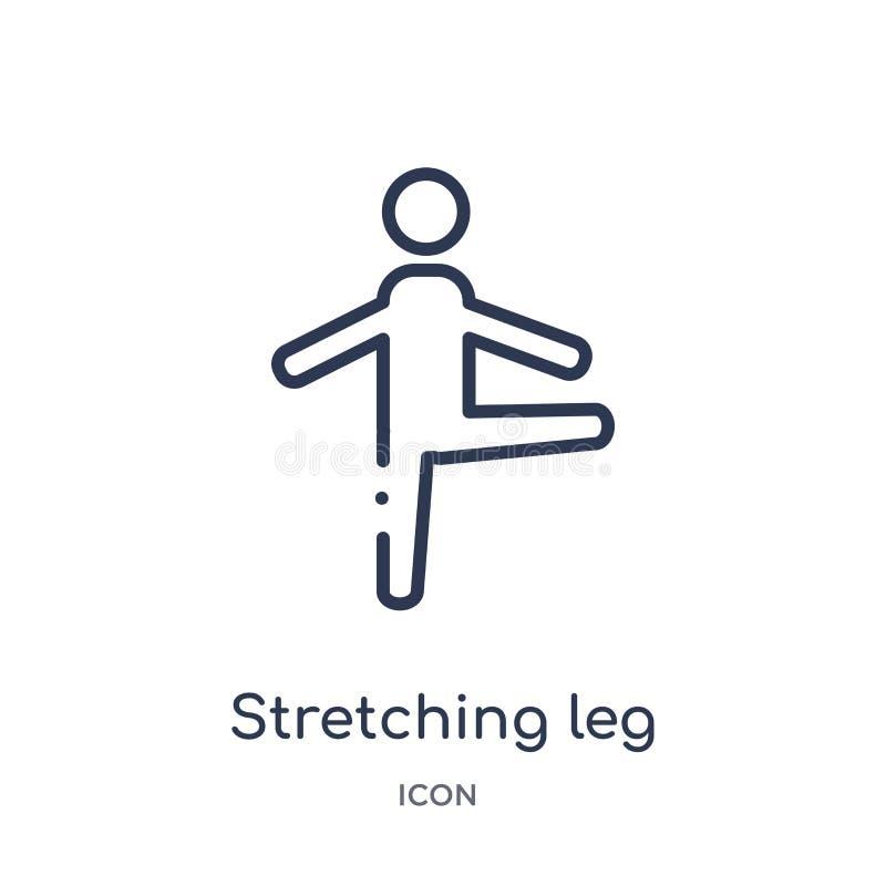 Linjär sträckande symbol för benövning från idrottshall- och konditionöversiktssamling Tunn linje symbol för sträckningsbenövning stock illustrationer
