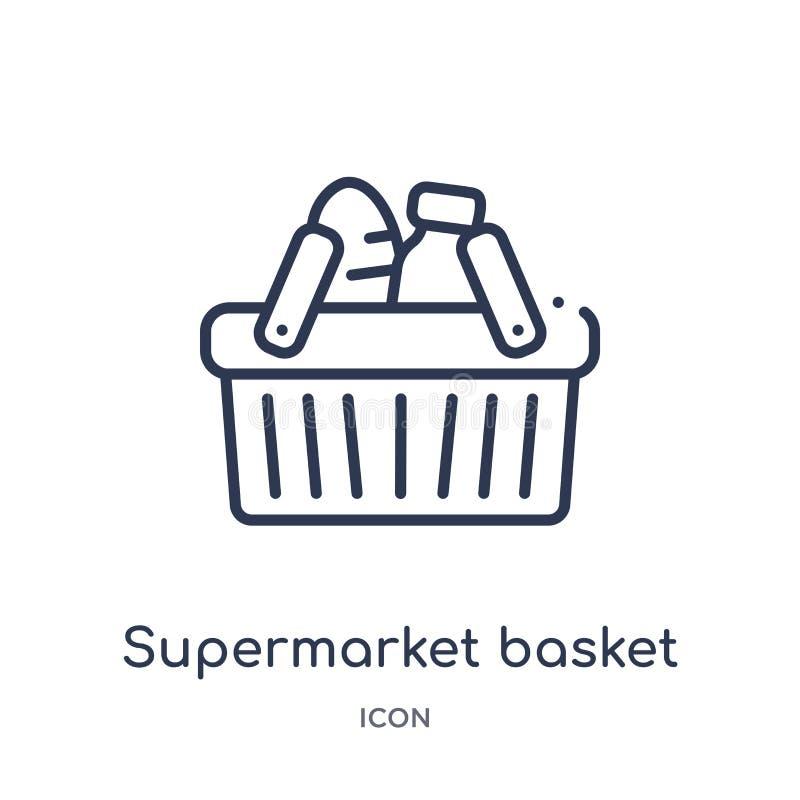 Linjär supermarketkorgsymbol från kommersöversiktssamling Tunn linje supermarketkorgsymbol som isoleras på vit bakgrund royaltyfri illustrationer