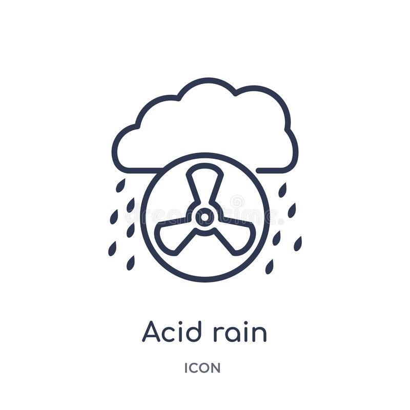 Linjär surt regnsymbol från ekologi- och miljööversiktssamling Tunn linje surt regnsymbol som isoleras på vit bakgrund achy vektor illustrationer