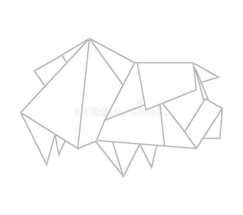 Linjär svartvit teckning med origamisvinet Zodiakhoroskop Denna mapp var också sparad EPS10 att du kan ändra den stock illustrationer