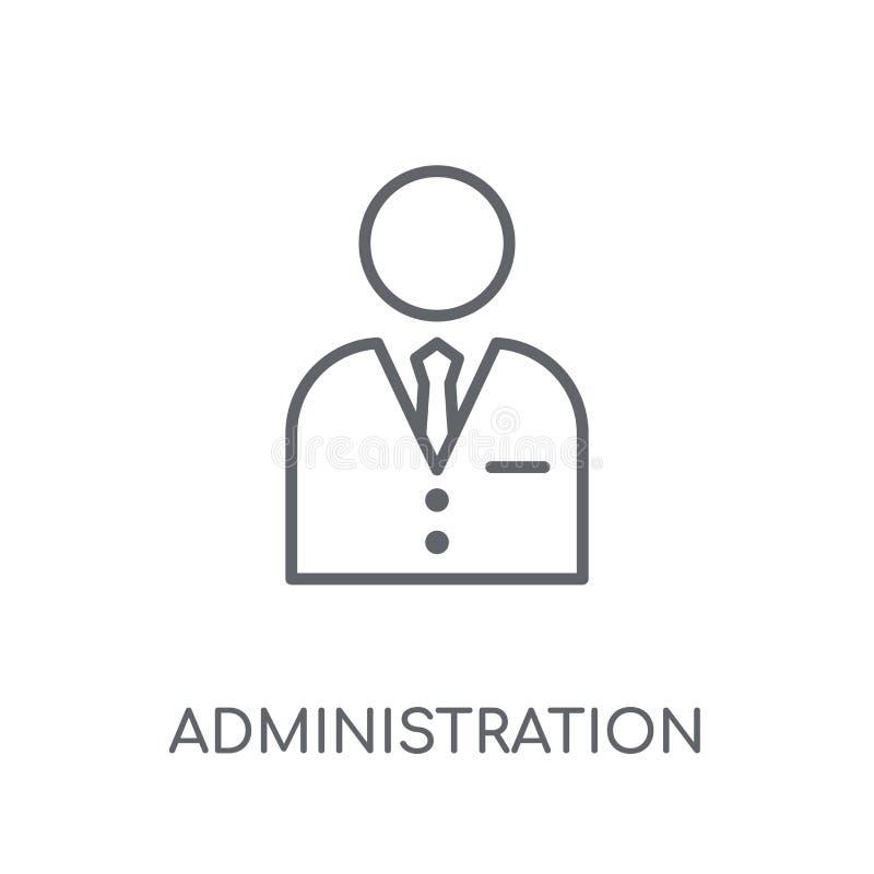 Linjär symbol för administration Modern översiktsadministrationslogo c royaltyfri illustrationer