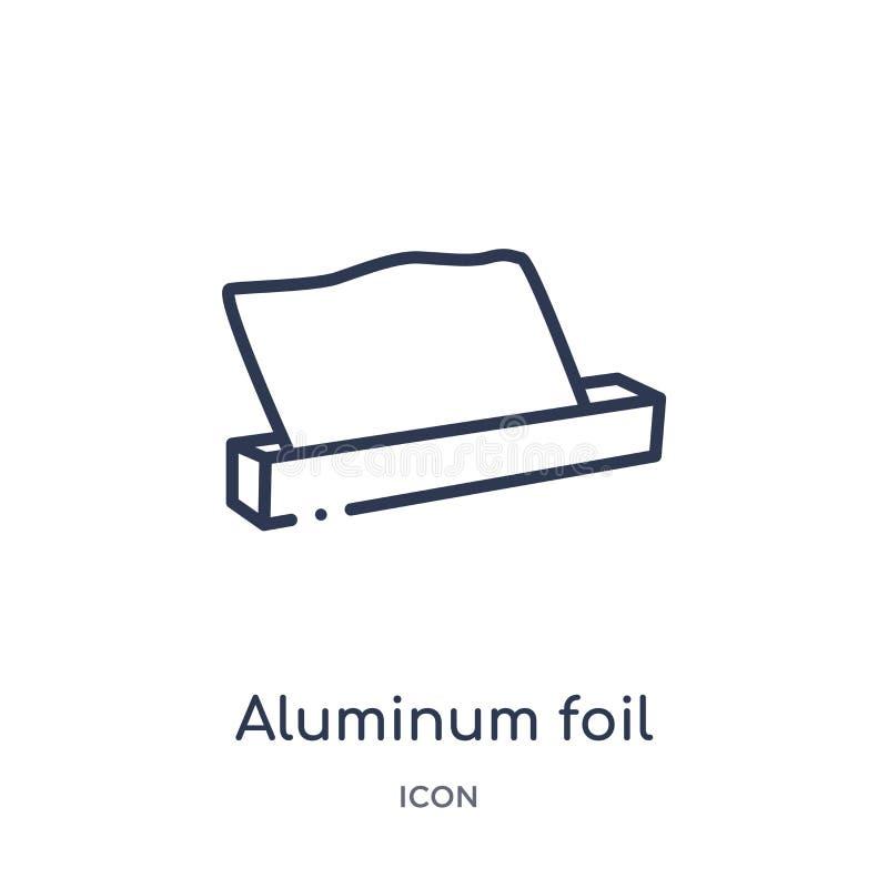 Linjär symbol för aluminiumfolie från kököversiktssamling Tunn linje symbol för aluminiumfolie som isoleras på vit bakgrund höjd vektor illustrationer