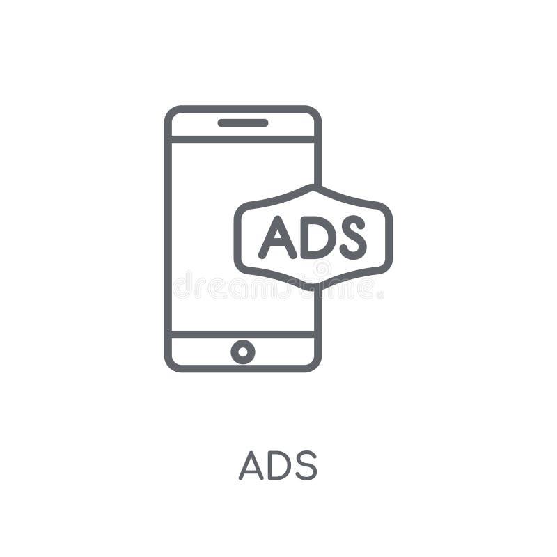 Linjär symbol för annonser Modernt begrepp för översiktsannonslogo på vit backgr vektor illustrationer