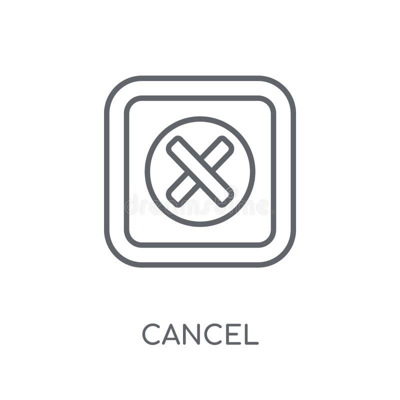 Linjär symbol för annullering Modernt begrepp för översiktsannulleringslogo på vit royaltyfri illustrationer