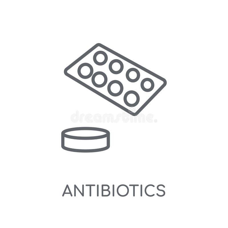 Linjär symbol för antibiotikummar Modernt begrepp för översiktsantibiotikumlogo vektor illustrationer