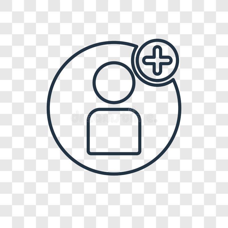Linjär symbol för användarebegreppsvektor som isoleras på genomskinlig backgrou royaltyfri illustrationer