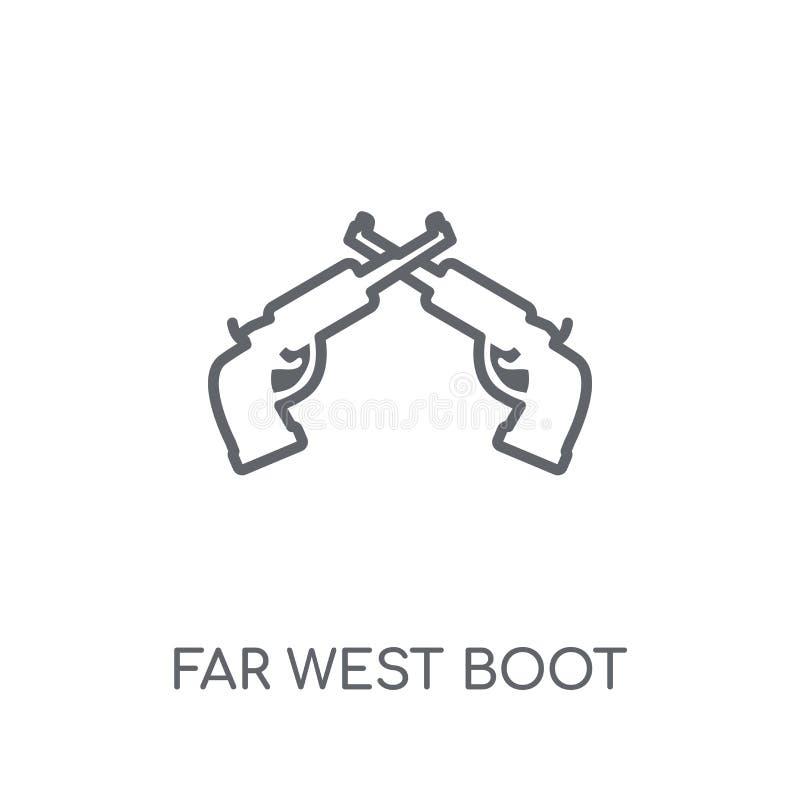 linjär symbol för avlägsen västra känga Lurar den avlägsna västra kängalogoen för den moderna översikten vektor illustrationer