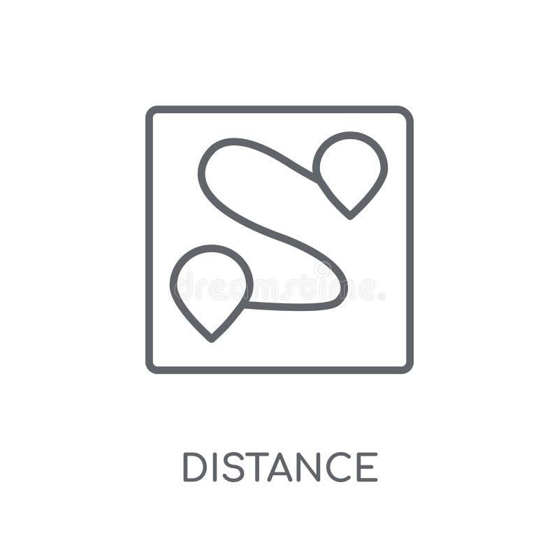 Linjär symbol för avstånd Modernt begrepp för översiktsavståndslogo på wh royaltyfri illustrationer