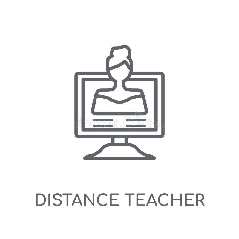 linjär symbol för avståndslärare Modern lo för översiktsavståndslärare stock illustrationer