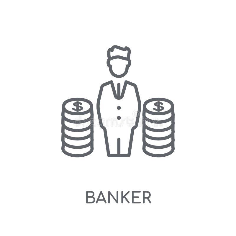 Linjär symbol för bankir Modernt begrepp för översiktsbankirlogo på vit royaltyfri illustrationer