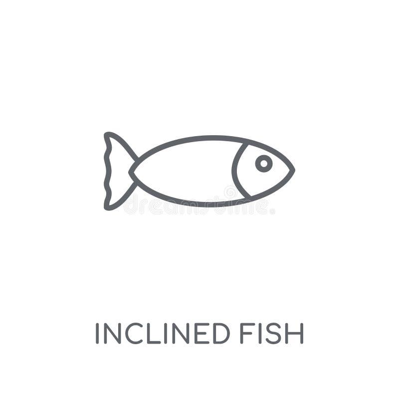 Linjär symbol för benägen fisk Lurar den moderna översikten lutade ned fisklogoen stock illustrationer