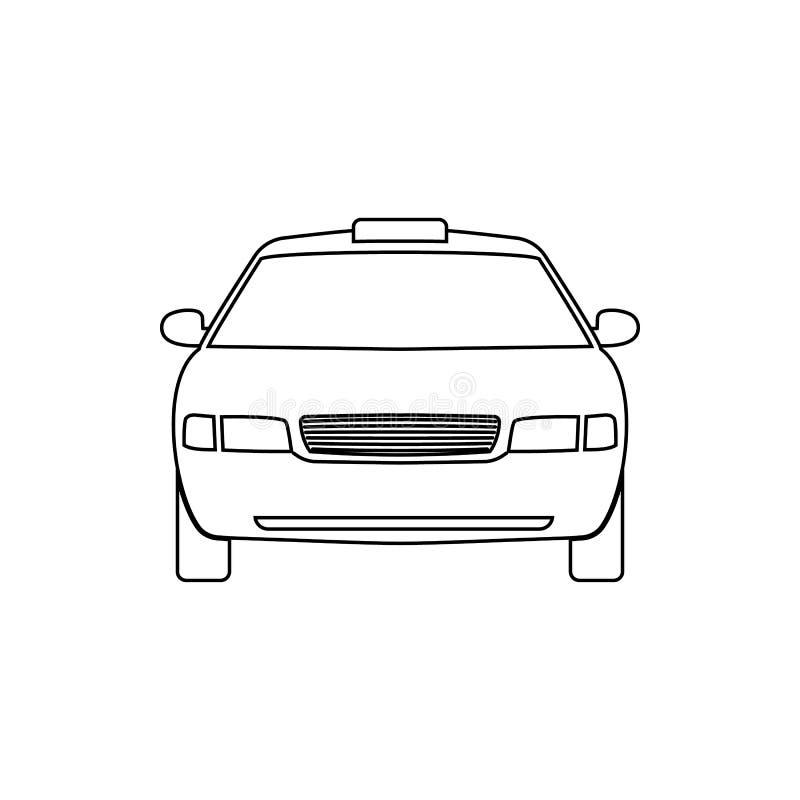 Linjär symbol för bil taxa vektor illustrationer