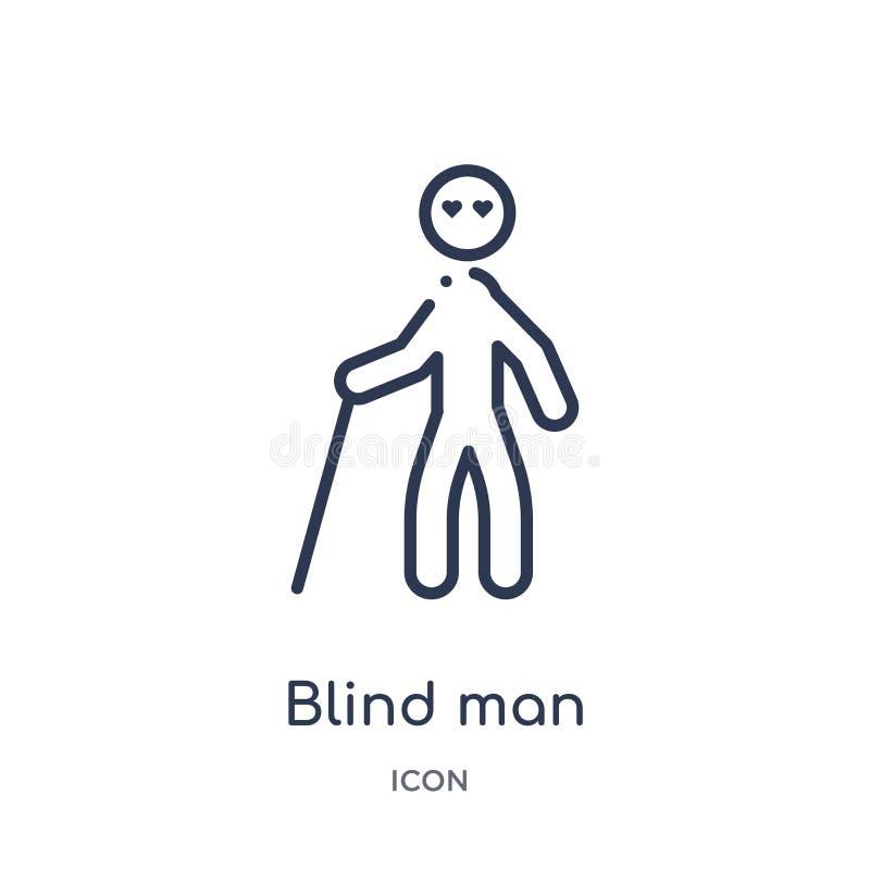 Linjär symbol för blind man från förälskelse- och romansöversiktssamling Tunn linje symbol för blind man som isoleras på vit bakg stock illustrationer