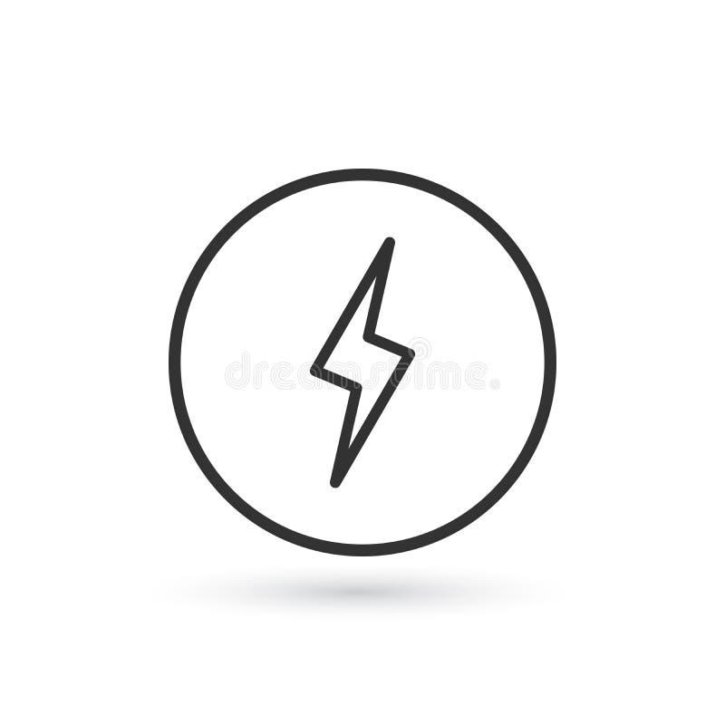 Linjär symbol för blixt Energivektorsymbol, blixttecken plant symbol för laddning på grå bakgrund Redigerbar slaglängd vektor illustrationer