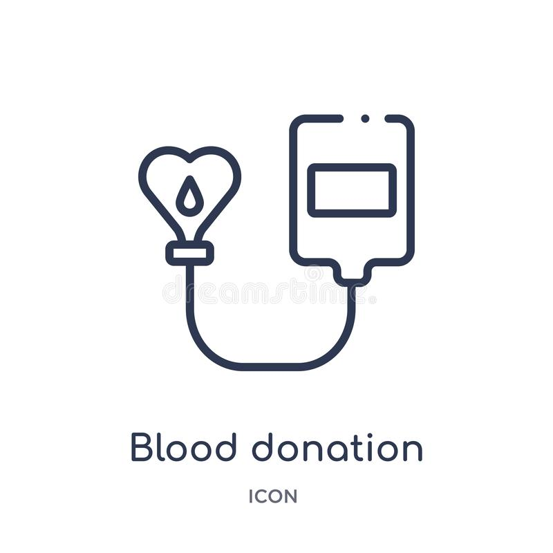 Linjär symbol för bloddonation från välgörenhetöversiktssamling Tunn linje vektor för bloddonation som isoleras på vit bakgrund _ vektor illustrationer