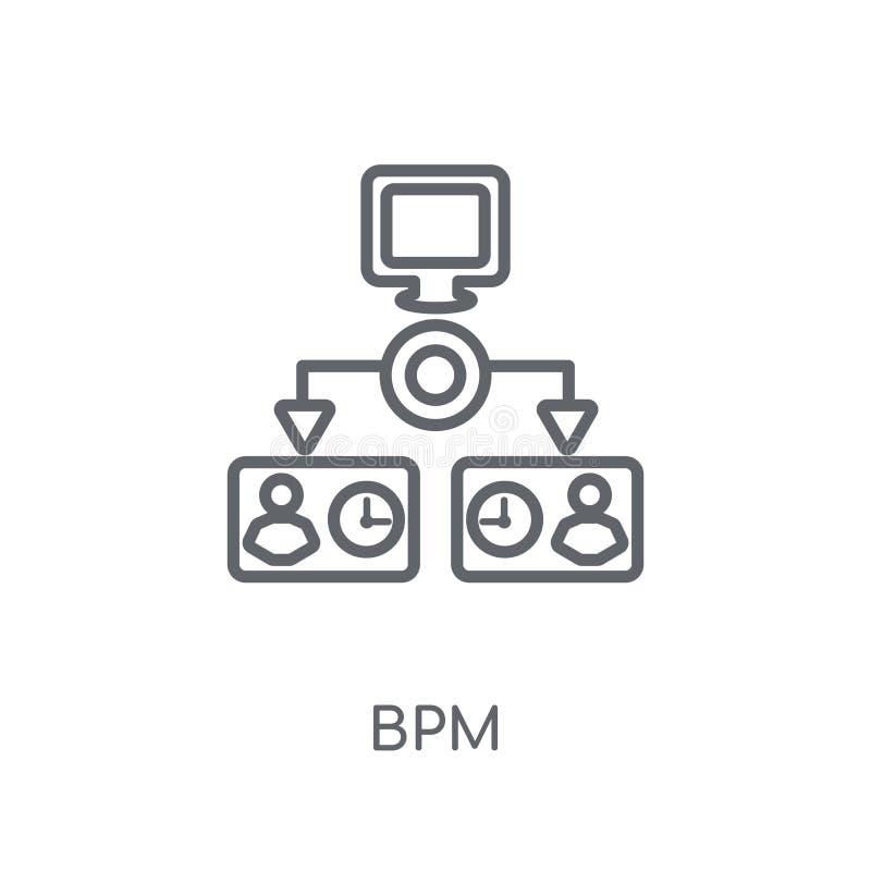 linjär symbol för bpm Modernt begrepp för översiktsbpmlogo på vit backgr stock illustrationer