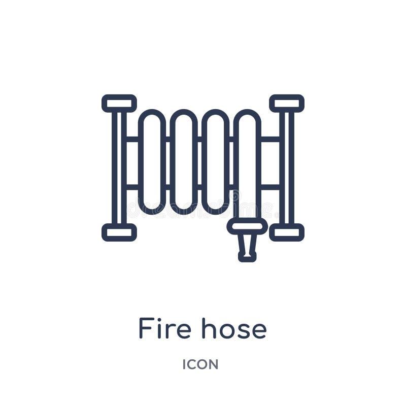 Linjär symbol för brandslang från samling för allmän översikt Tunn linje symbol för brandslang som isoleras på vit bakgrund moder royaltyfri illustrationer